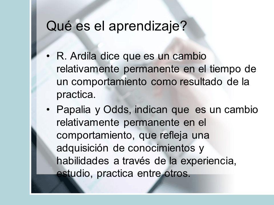 Qué es el aprendizaje R. Ardila dice que es un cambio relativamente permanente en el tiempo de un comportamiento como resultado de la practica.