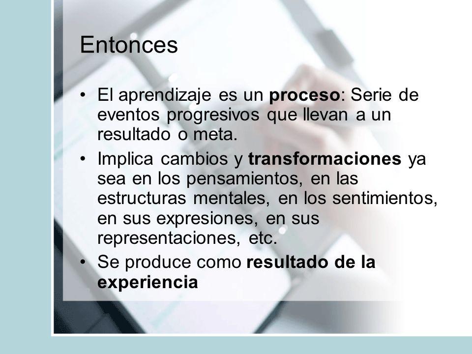 Entonces El aprendizaje es un proceso: Serie de eventos progresivos que llevan a un resultado o meta.