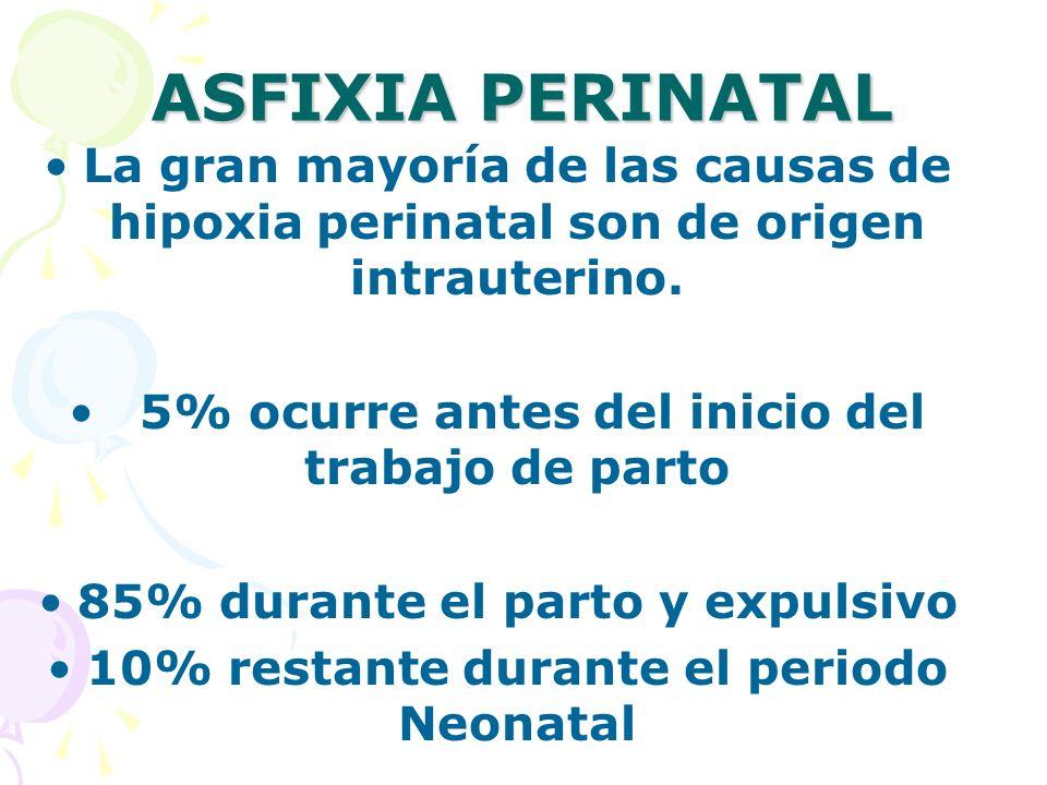 ASFIXIA PERINATAL La gran mayoría de las causas de hipoxia perinatal son de origen intrauterino. 5% ocurre antes del inicio del trabajo de parto.