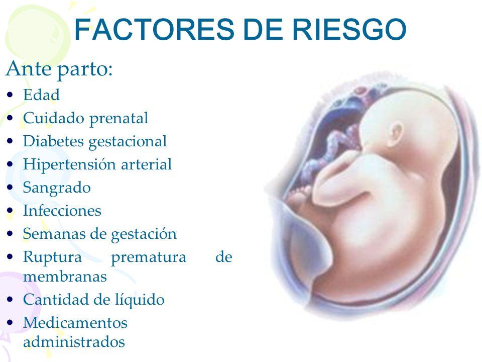 FACTORES DE RIESGO Ante parto: Edad Cuidado prenatal