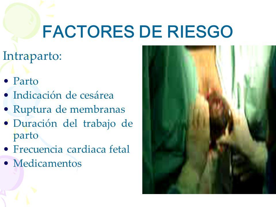 FACTORES DE RIESGO Intraparto: Parto Indicación de cesárea
