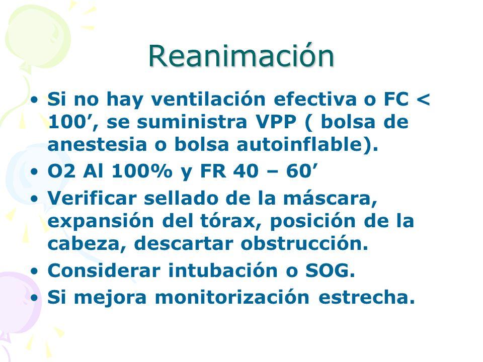 Reanimación Si no hay ventilación efectiva o FC < 100', se suministra VPP ( bolsa de anestesia o bolsa autoinflable).