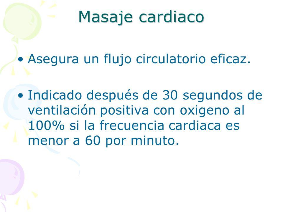 Masaje cardiaco Asegura un flujo circulatorio eficaz.
