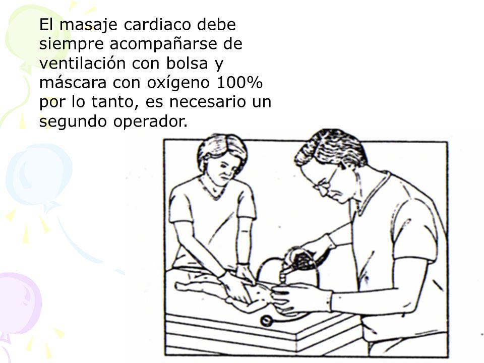 El masaje cardiaco debe siempre acompañarse de ventilación con bolsa y máscara con oxígeno 100% por lo tanto, es necesario un segundo operador.