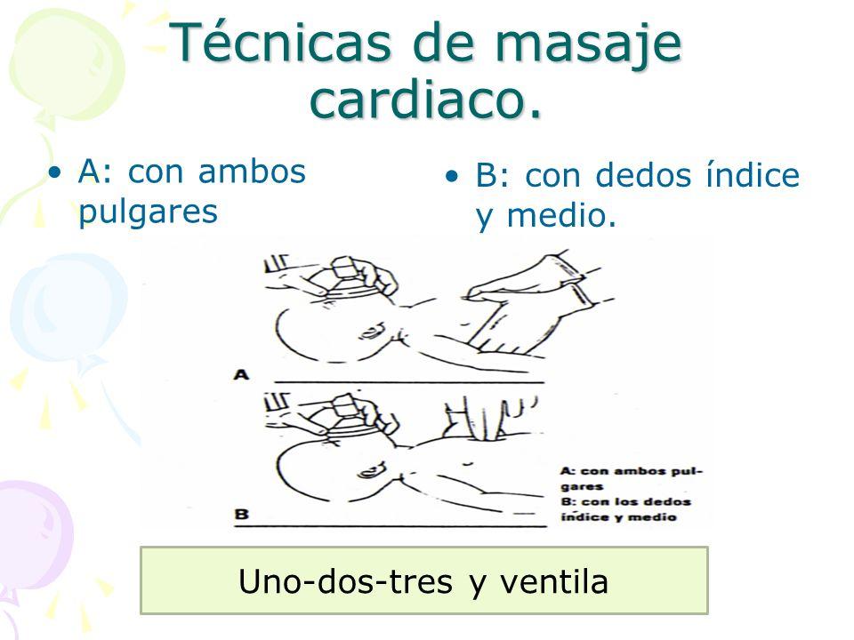 Técnicas de masaje cardiaco.