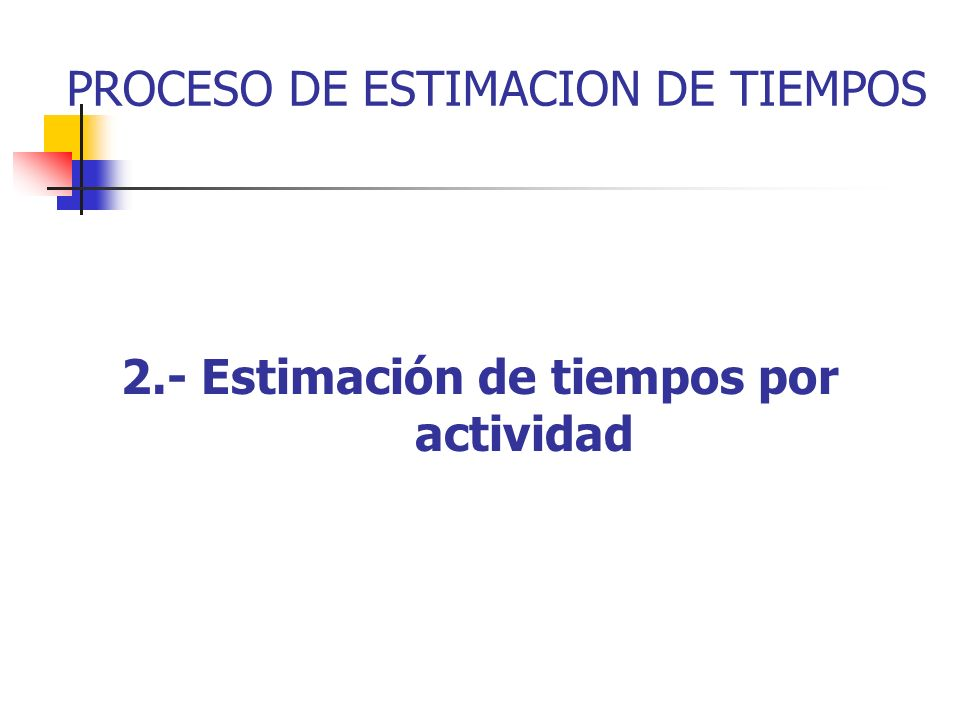 2.- Estimación de tiempos por actividad