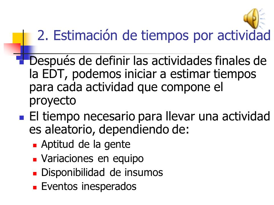 2. Estimación de tiempos por actividad