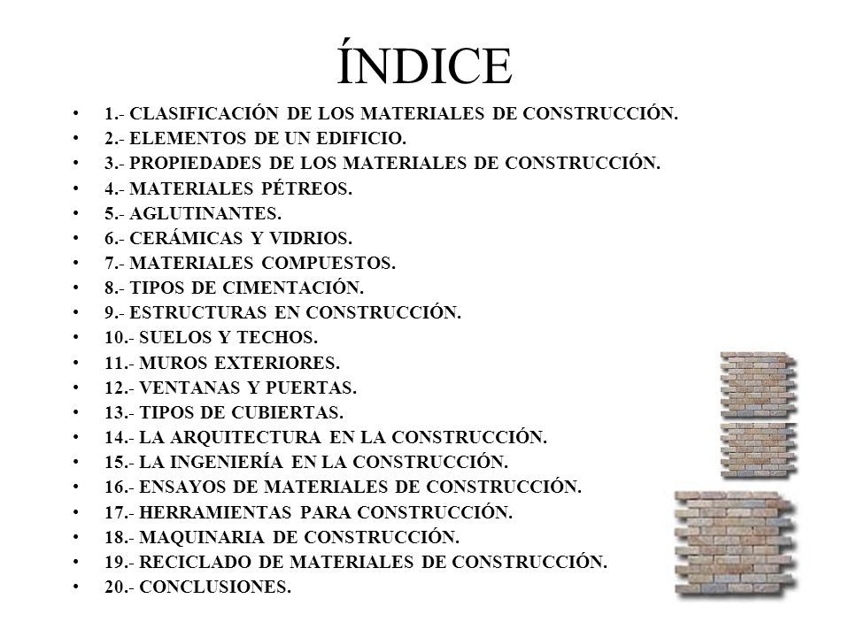 Tema 2 materiales de construcci n ppt video online - Tipos de materiales de construccion ...