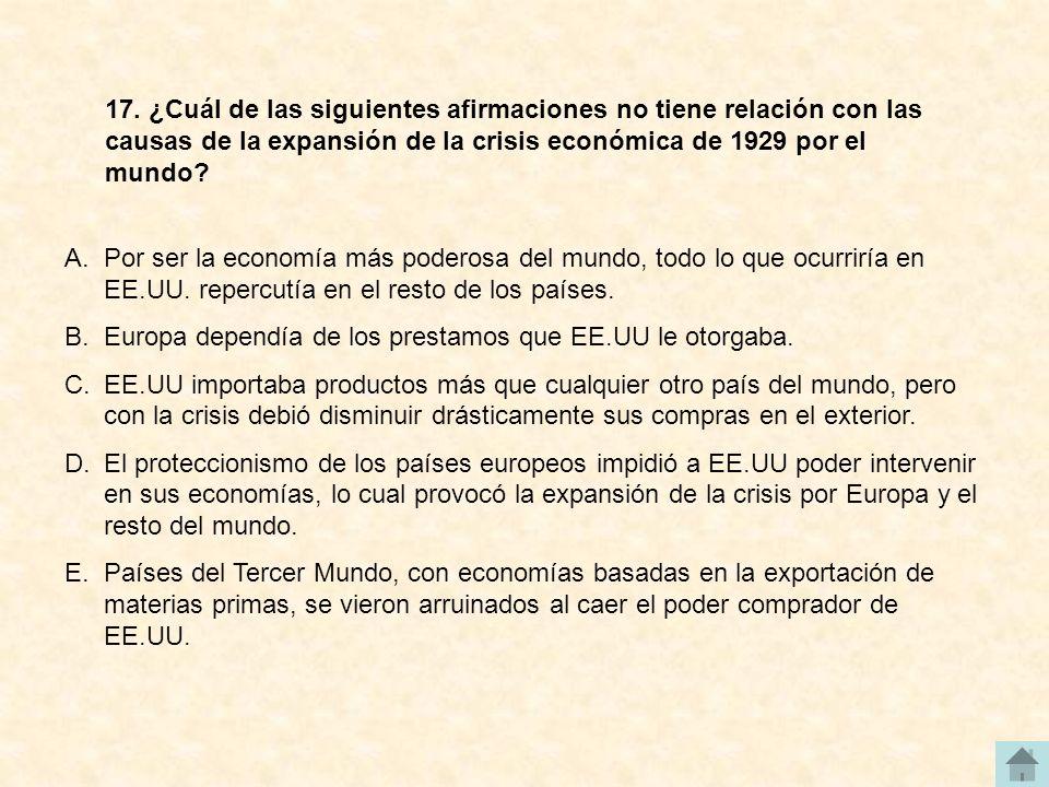 17. ¿Cuál de las siguientes afirmaciones no tiene relación con las causas de la expansión de la crisis económica de 1929 por el mundo