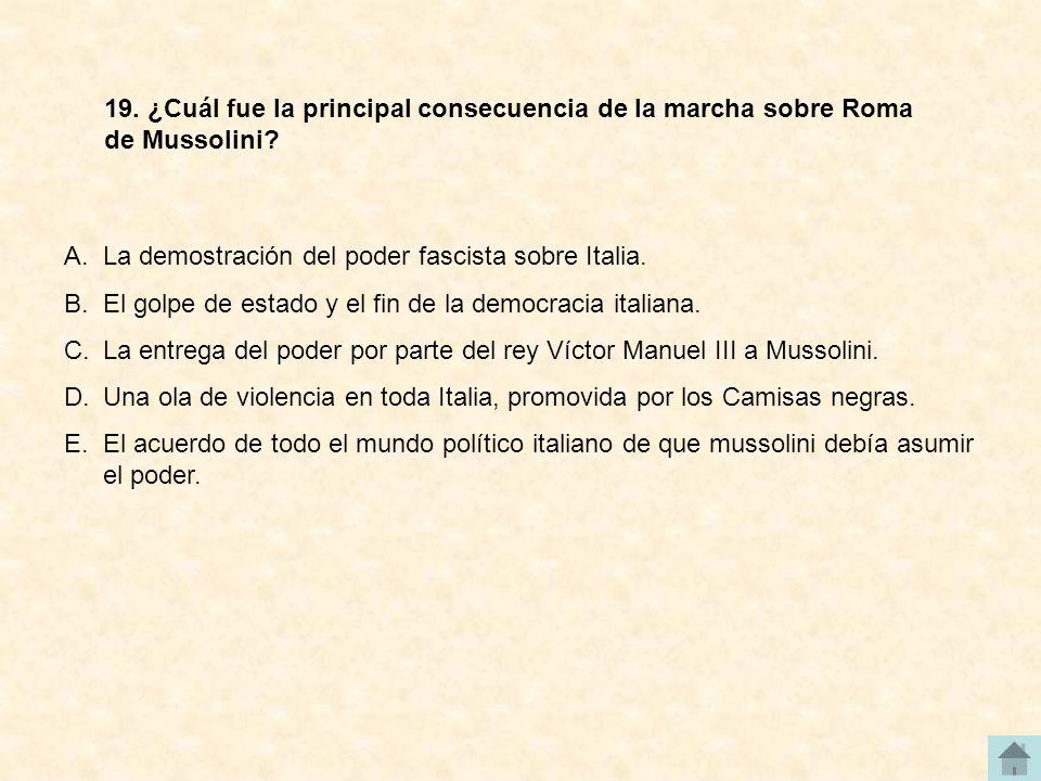 19. ¿Cuál fue la principal consecuencia de la marcha sobre Roma de Mussolini