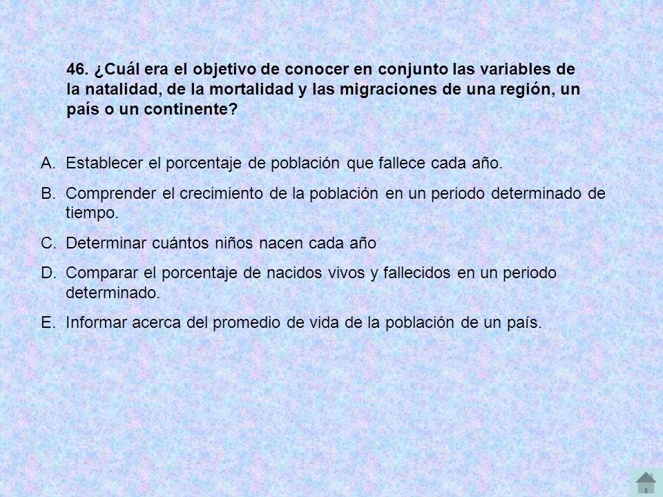 46. ¿Cuál era el objetivo de conocer en conjunto las variables de la natalidad, de la mortalidad y las migraciones de una región, un país o un continente