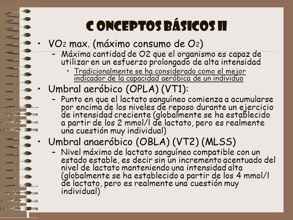 C ONCEPTOS BÁSICOS II VO2 max. (máximo consumo de O2)