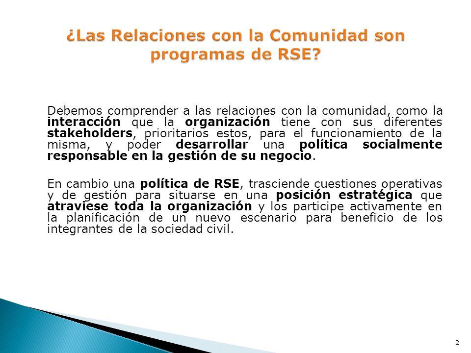 ¿Las Relaciones con la Comunidad son programas de RSE