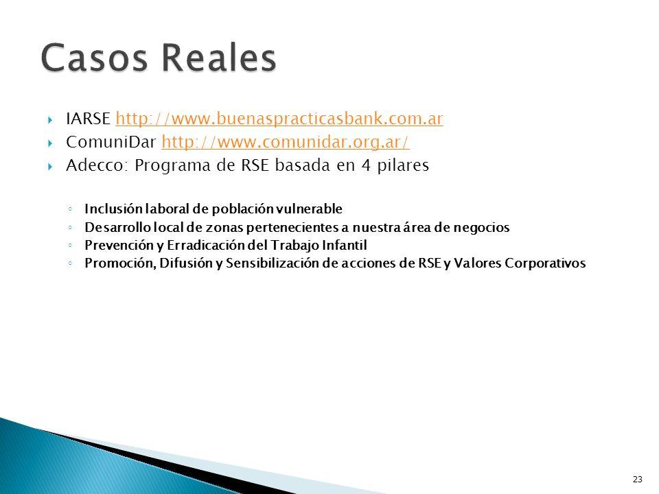 Casos Reales IARSE http://www.buenaspracticasbank.com.ar