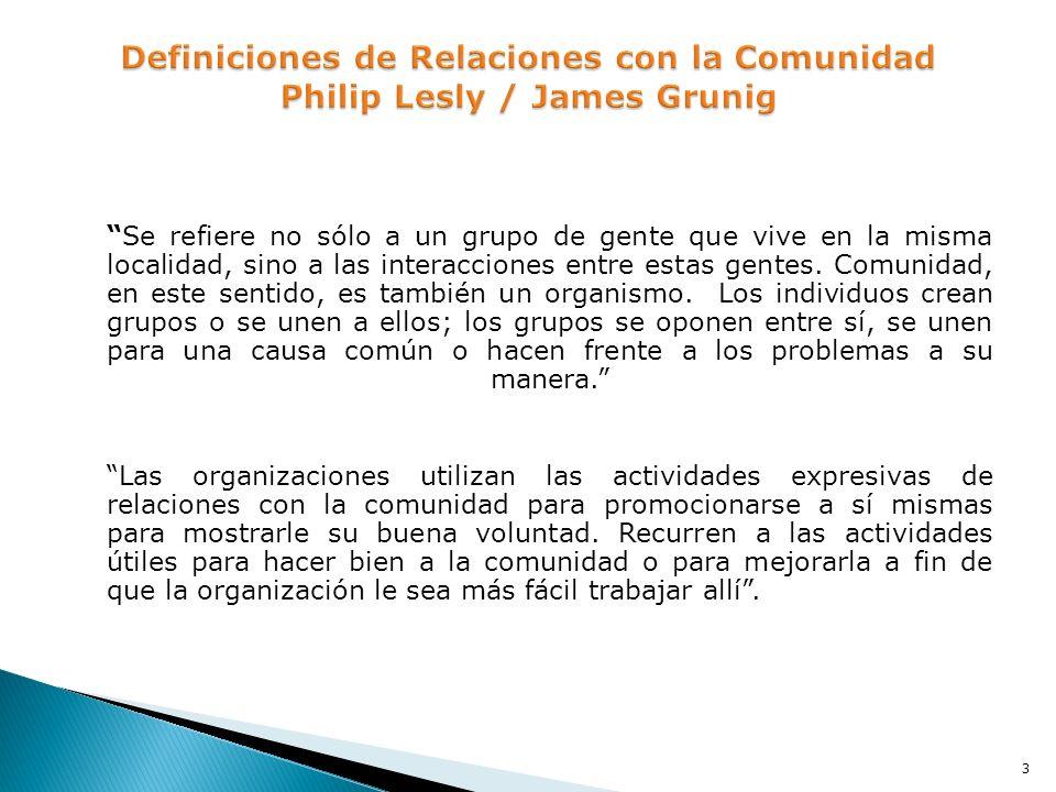 Definiciones de Relaciones con la Comunidad Philip Lesly / James Grunig