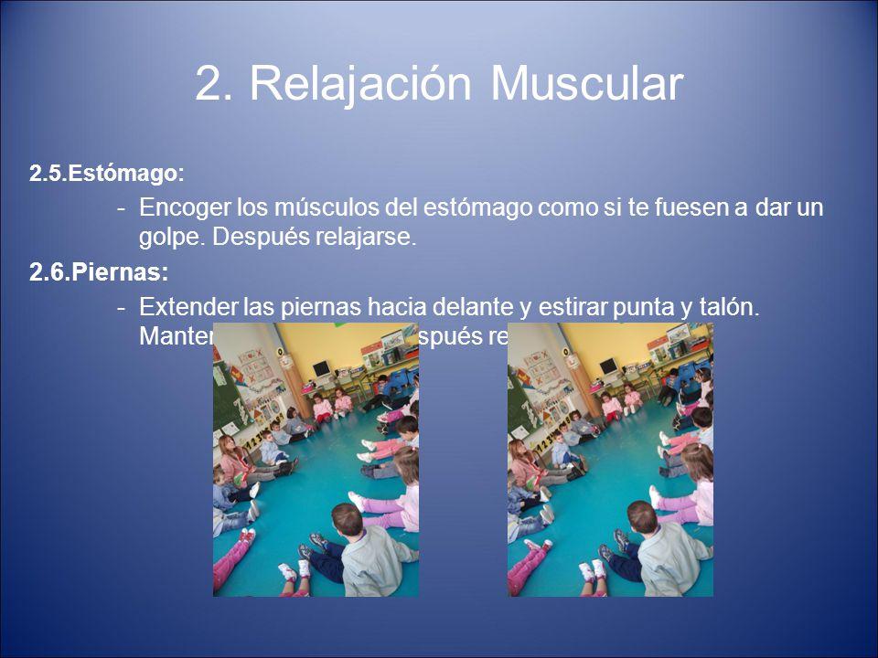 2. Relajación Muscular 2.5.Estómago: Encoger los músculos del estómago como si te fuesen a dar un golpe. Después relajarse.