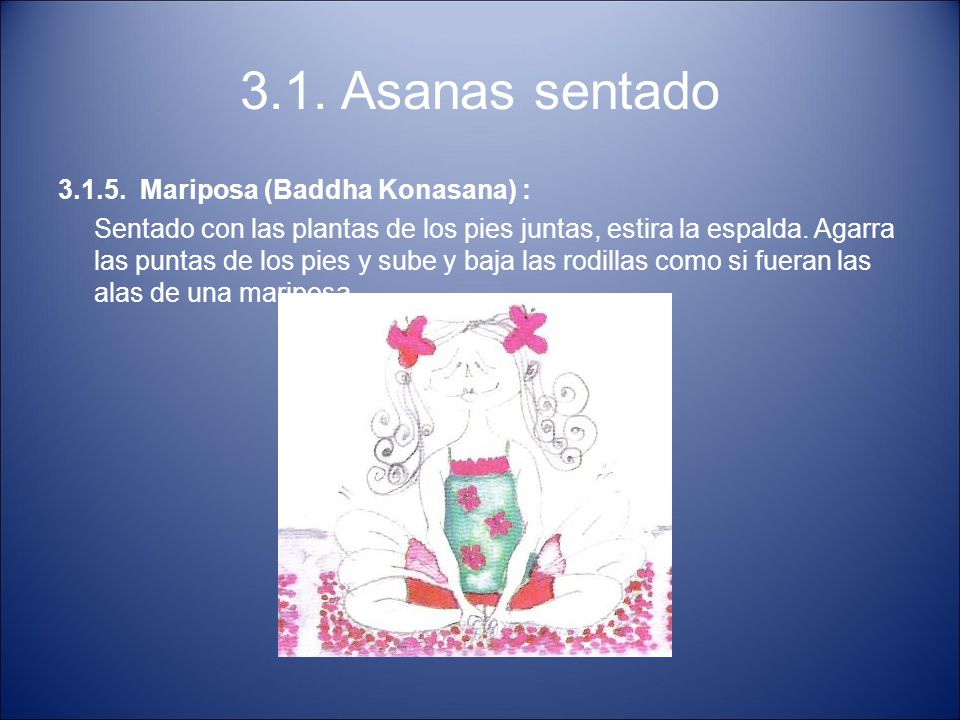 3.1. Asanas sentado 3.1.5. Mariposa (Baddha Konasana) :