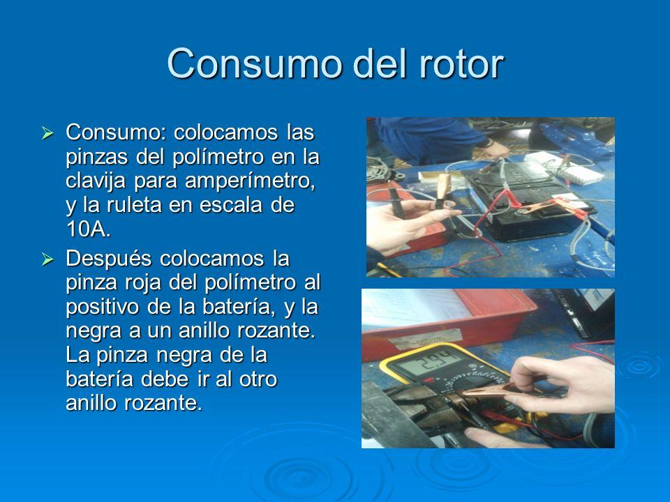 Consumo del rotorConsumo: colocamos las pinzas del polímetro en la clavija para amperímetro, y la ruleta en escala de 10A.