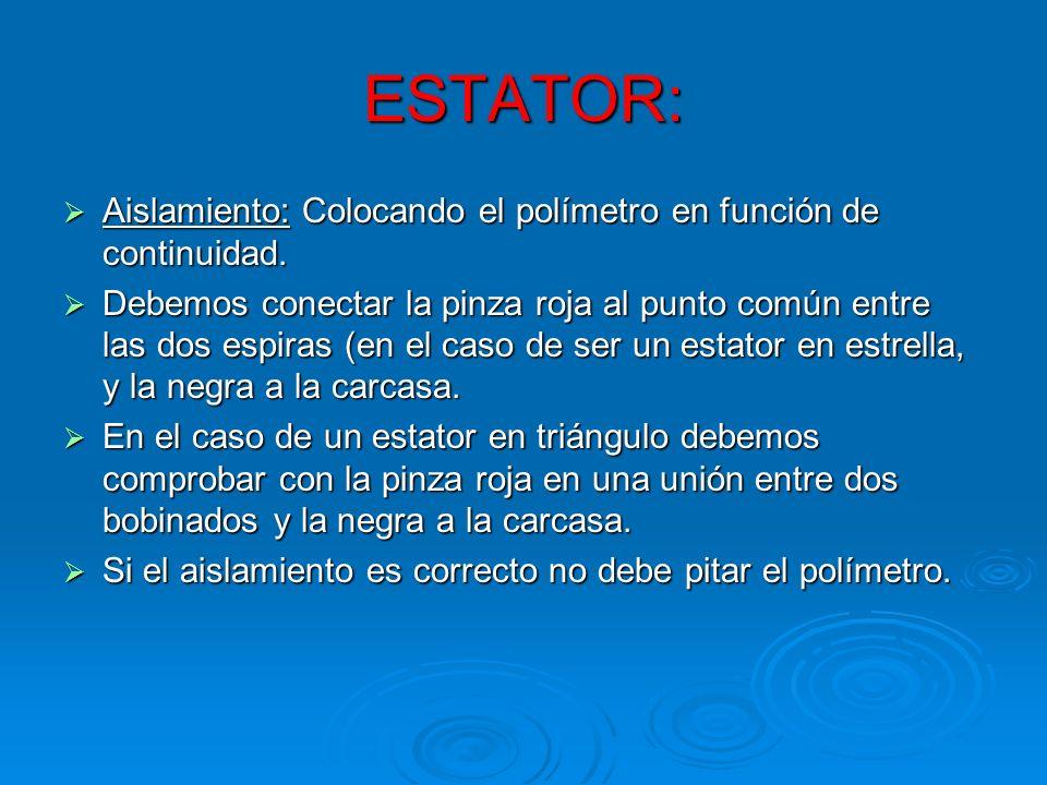 ESTATOR: Aislamiento: Colocando el polímetro en función de continuidad.