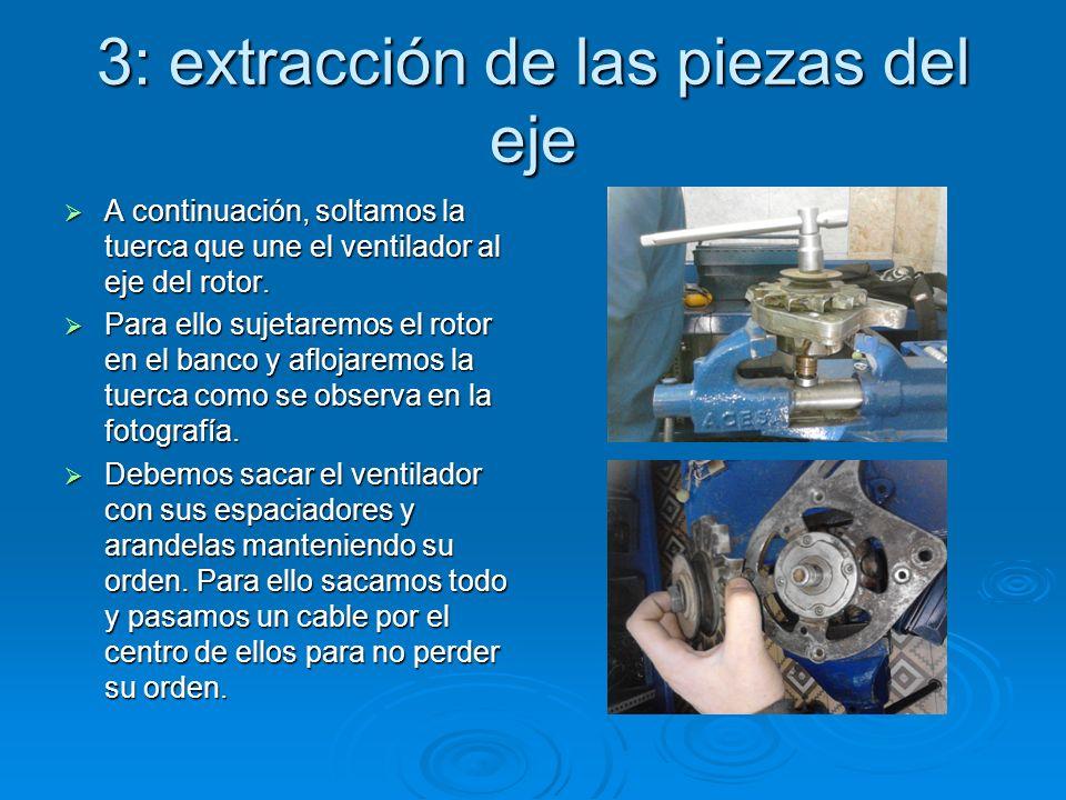 3: extracción de las piezas del eje