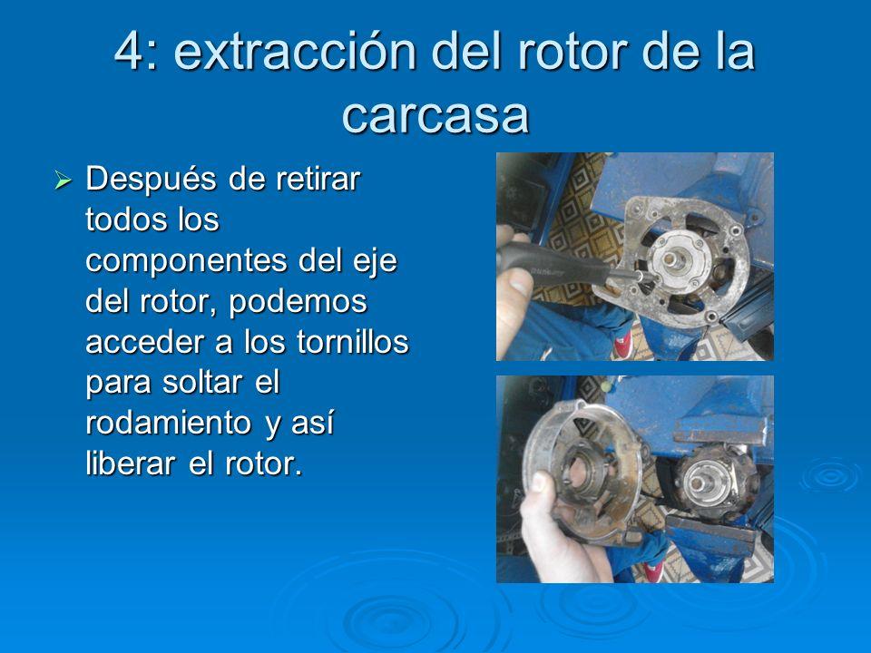 4: extracción del rotor de la carcasa