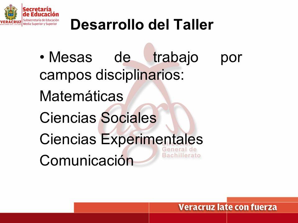 Desarrollo del TallerMesas de trabajo por campos disciplinarios: Matemáticas. Ciencias Sociales. Ciencias Experimentales.