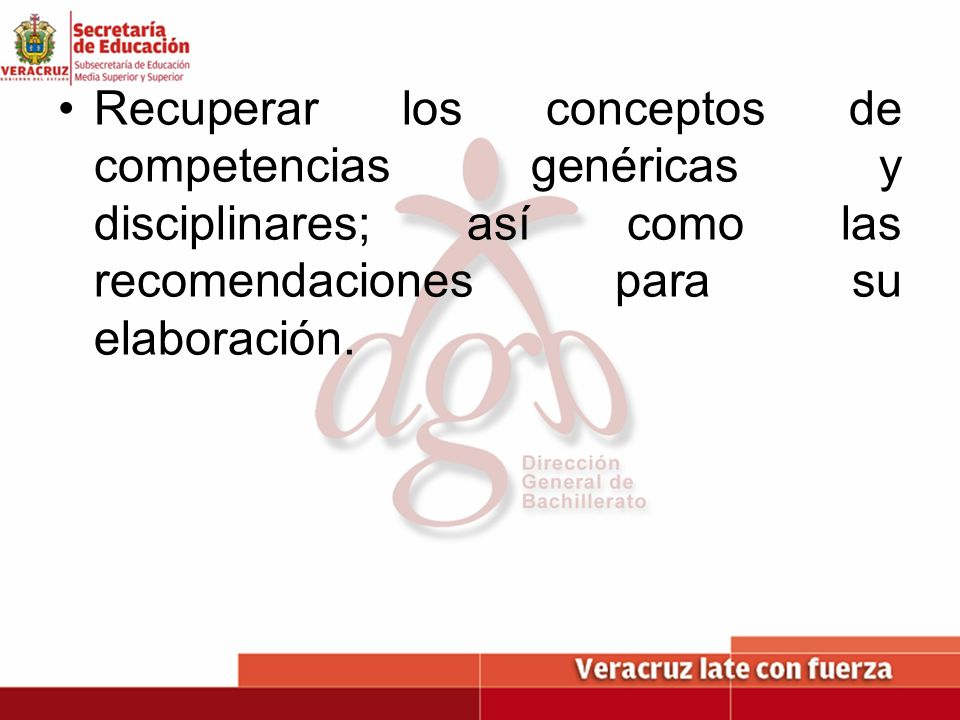 Recuperar los conceptos de competencias genéricas y disciplinares; así como las recomendaciones para su elaboración.