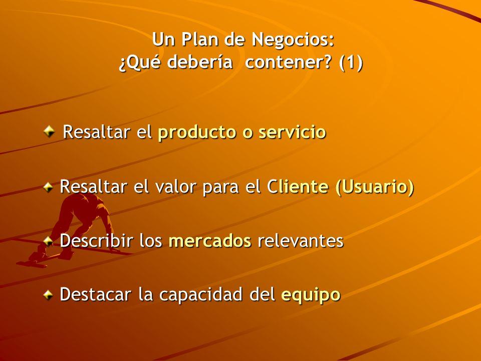 Un Plan de Negocios: ¿Qué debería contener (1)