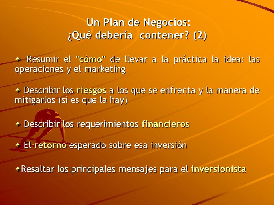 Un Plan de Negocios: ¿Qué debería contener (2)