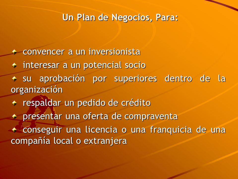 Un Plan de Negocios, Para: