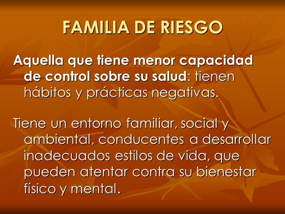 FAMILIA DE RIESGO Aquella que tiene menor capacidad de control sobre su salud: tienen hábitos y prácticas negativas.