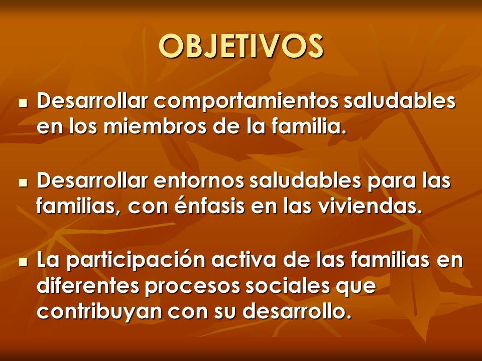 OBJETIVOS Desarrollar comportamientos saludables en los miembros de la familia.