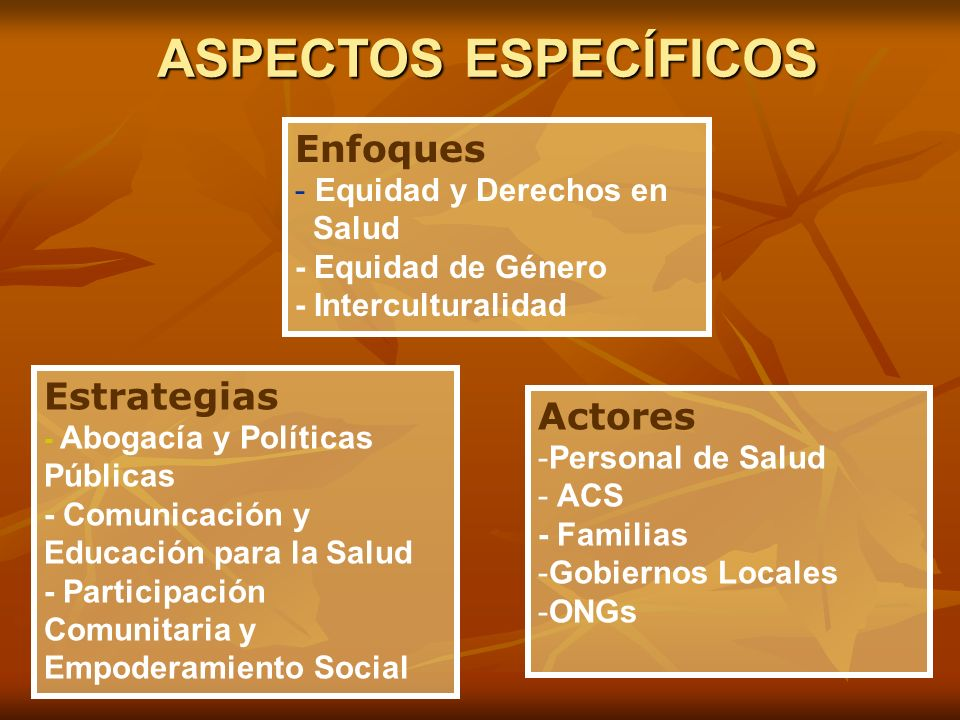 ASPECTOS ESPECÍFICOS Enfoques Estrategias Actores