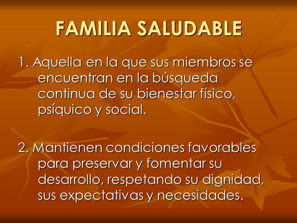 FAMILIA SALUDABLE 1. Aquella en la que sus miembros se encuentran en la búsqueda continua de su bienestar físico, psíquico y social.