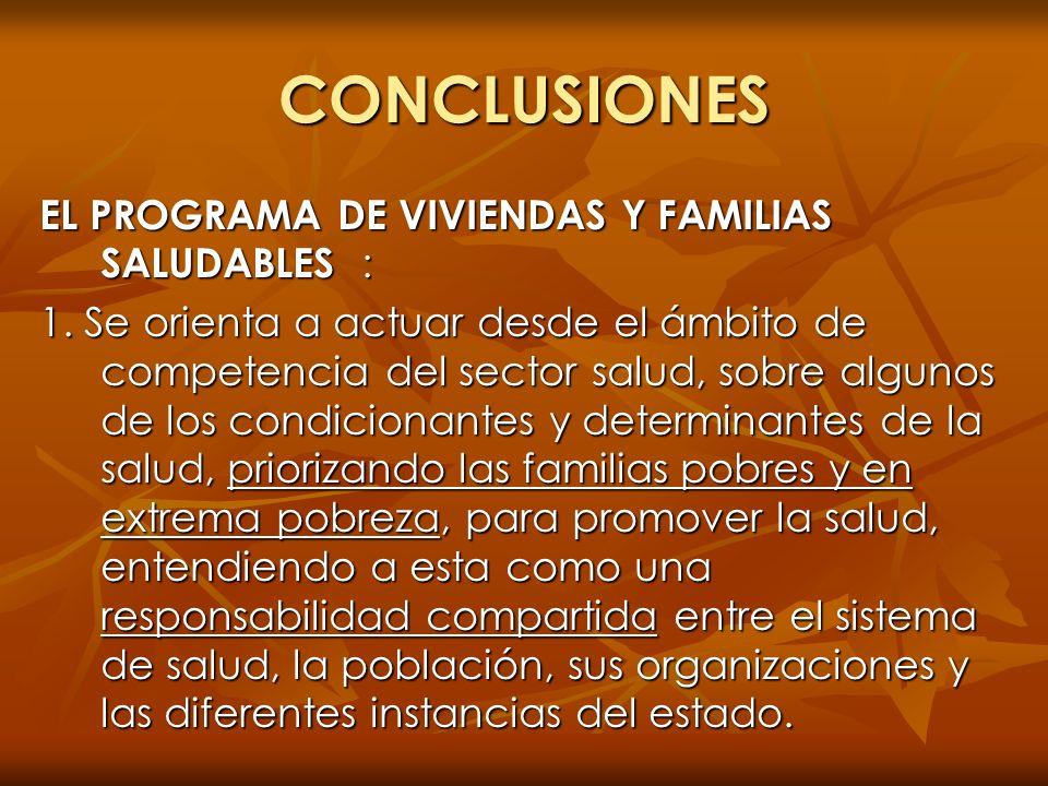 CONCLUSIONES EL PROGRAMA DE VIVIENDAS Y FAMILIAS SALUDABLES :