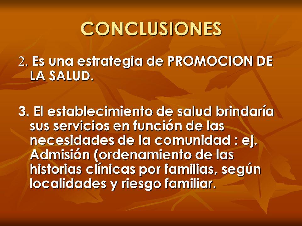 CONCLUSIONES 2. Es una estrategia de PROMOCION DE LA SALUD.