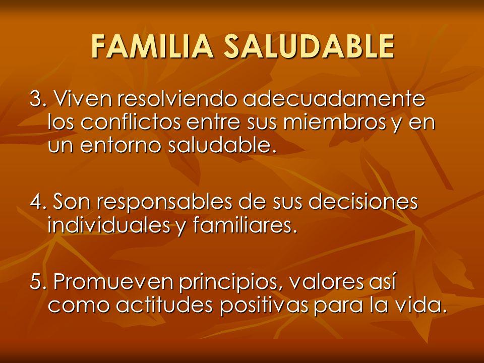 FAMILIA SALUDABLE 3. Viven resolviendo adecuadamente los conflictos entre sus miembros y en un entorno saludable.