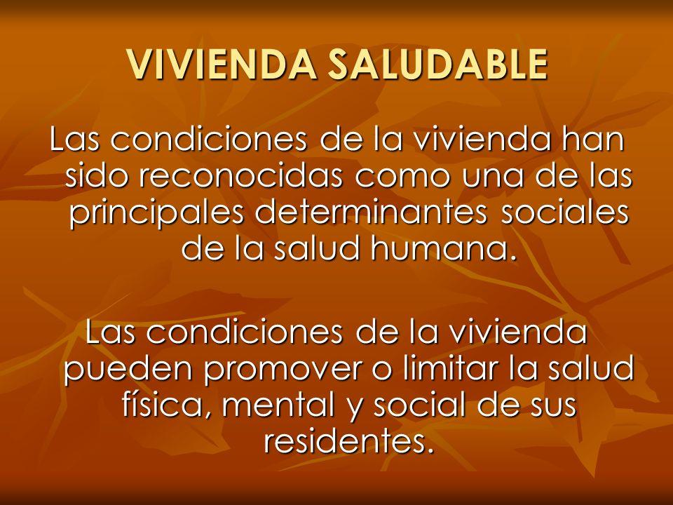 VIVIENDA SALUDABLE Las condiciones de la vivienda han sido reconocidas como una de las principales determinantes sociales de la salud humana.