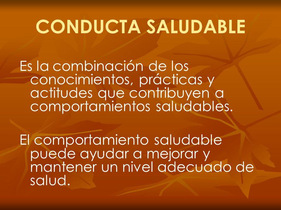CONDUCTA SALUDABLE Es la combinación de los conocimientos, prácticas y actitudes que contribuyen a comportamientos saludables.