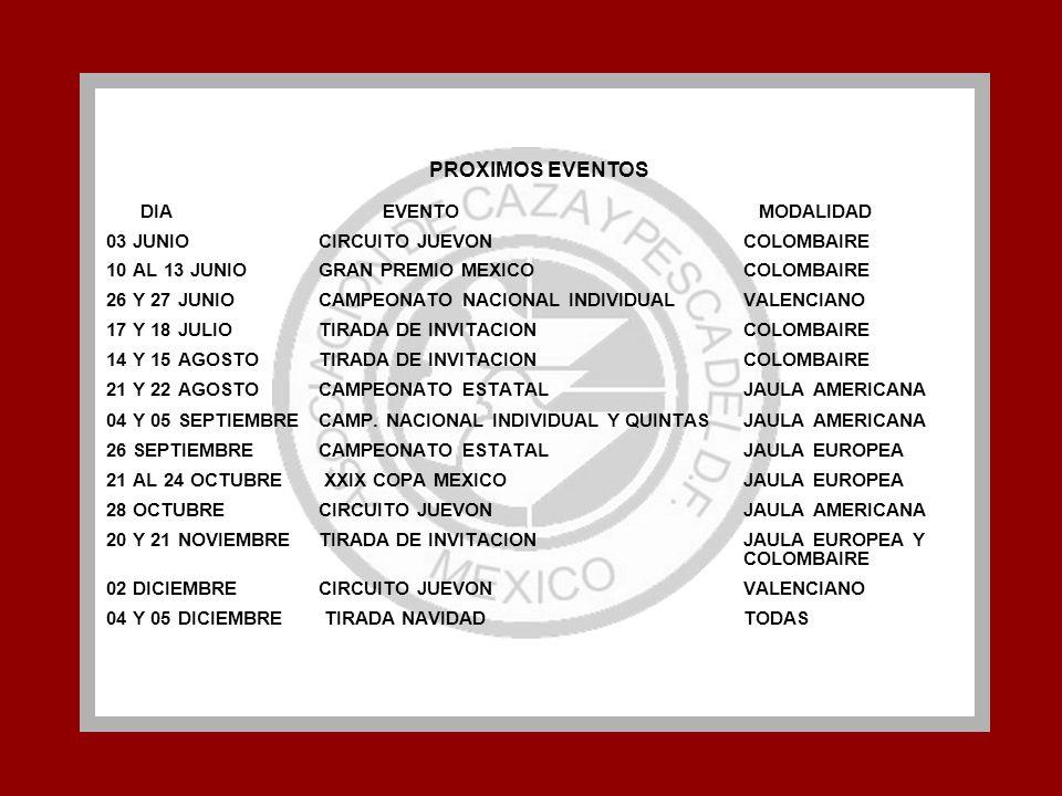 PROXIMOS EVENTOS 03 JUNIO CIRCUITO JUEVON COLOMBAIRE