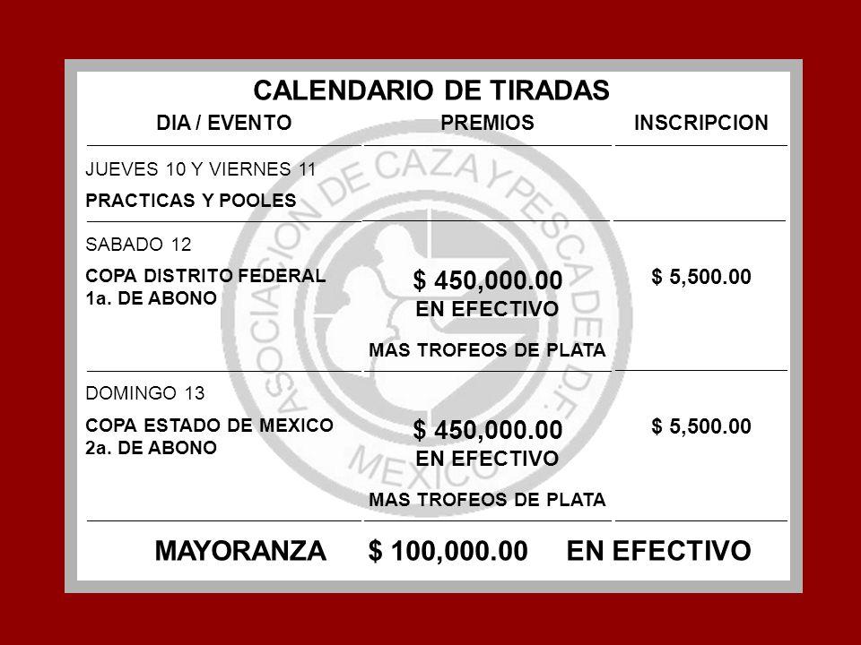 CALENDARIO DE TIRADAS MAYORANZA $ 100,000.00 EN EFECTIVO