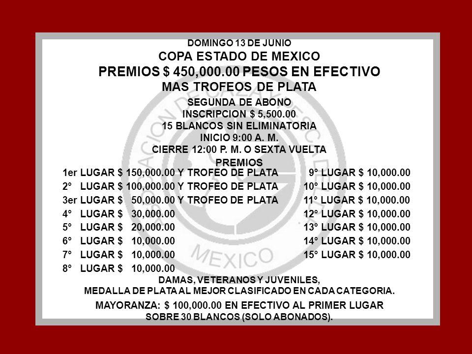 PREMIOS $ 450,000.00 PESOS EN EFECTIVO