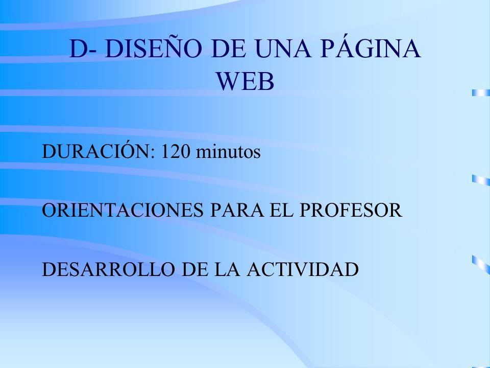 D- DISEÑO DE UNA PÁGINA WEB