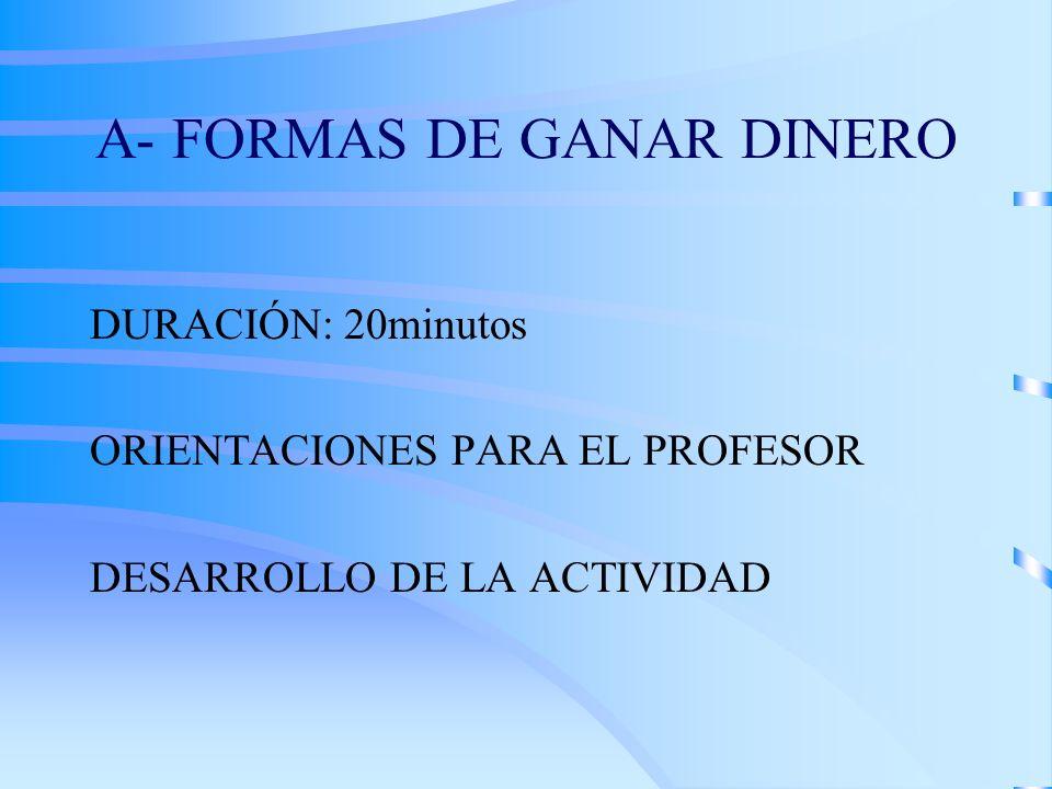A- FORMAS DE GANAR DINERO