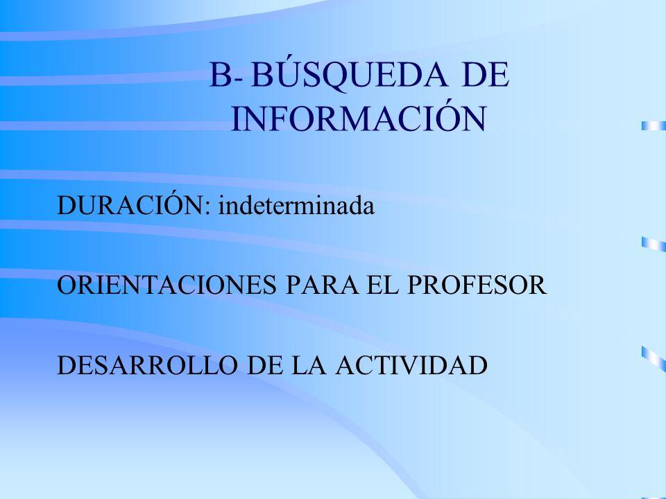 B- BÚSQUEDA DE INFORMACIÓN