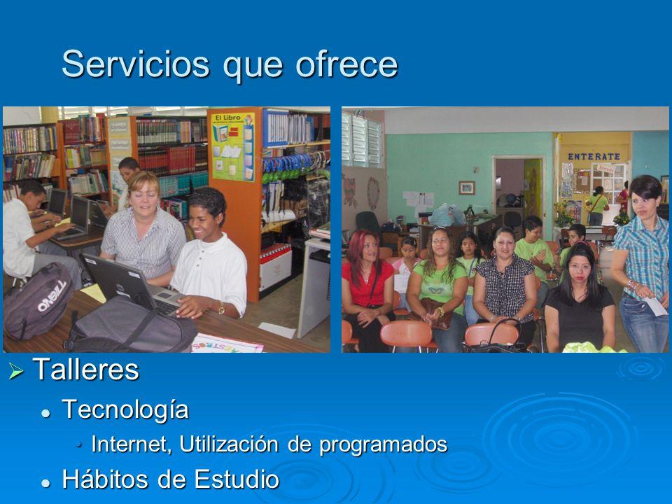 Servicios que ofrece Talleres Tecnología Hábitos de Estudio