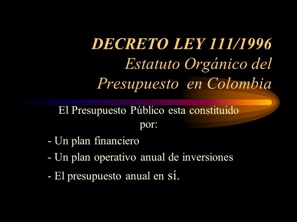 DECRETO LEY 111/1996 Estatuto Orgánico del Presupuesto en Colombia