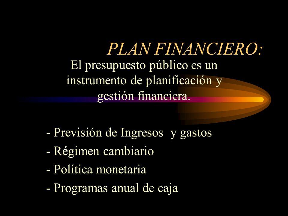 PLAN FINANCIERO:El presupuesto público es un instrumento de planificación y gestión financiera. - Previsión de Ingresos y gastos.