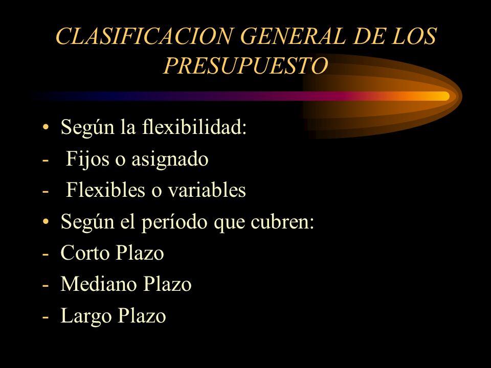 CLASIFICACION GENERAL DE LOS PRESUPUESTO