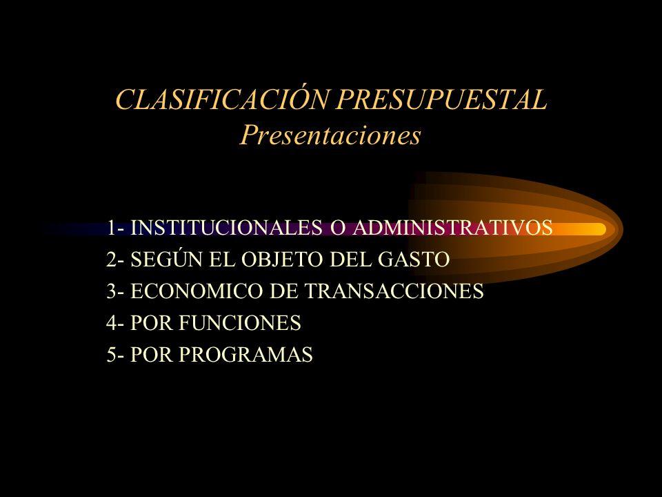 CLASIFICACIÓN PRESUPUESTAL Presentaciones